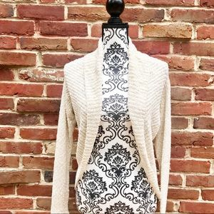 TALBOTS Creme Asymmetrical Long Sleeved Cardigan